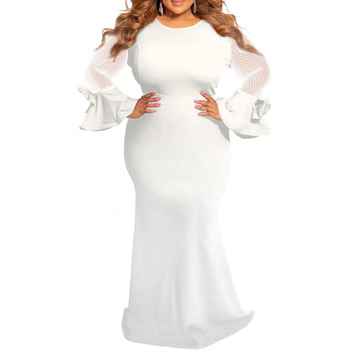 Plus Size Dresses for Women 4xl 5xl 6xl Sheer Mesh Long Sleeve Elegant African Ladies Wedding Evening Party Long Maxi Dress Robe evening gown dress fur mermaid party long dresses women elegant plus size 5xl v neck bodycon knitted ladies maxi formal dress