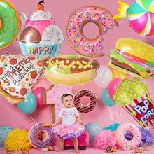 40''Sweet Donut Ice Cream Foil Balloons Cake Helium Balloon Baby Shower Birthday Party Decoration Kids Toy Digital Figure Globo
