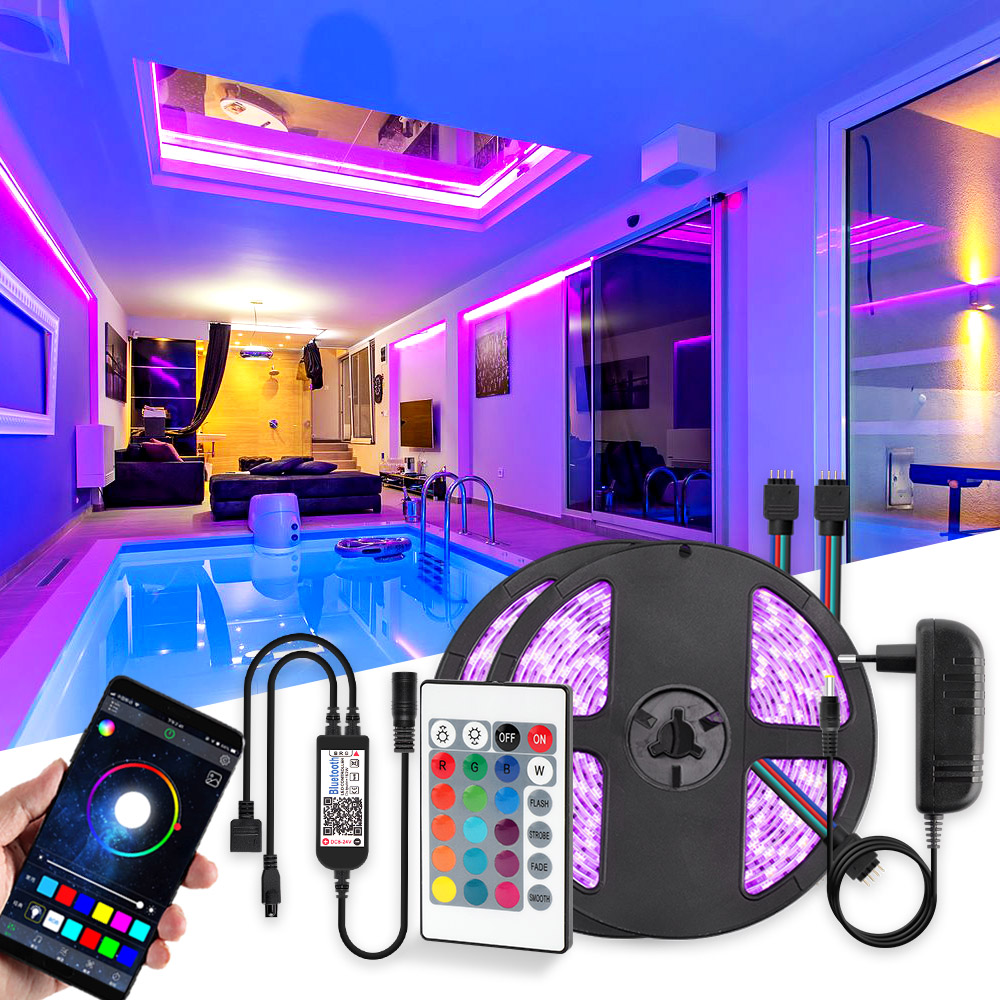 LED Strip Light RGB 5050 SMD 2835 Flexible Ribbon Fita Led Light Strip RGB 5M 10M Bluetooth Remote Controller DC12V Led Decorate
