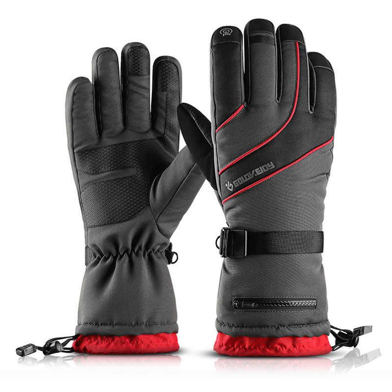 Зимние лыжные перчатки для сенсорного экрана, для снежной погоды, для мужчин и женщин, водонепроницаемые теплые перчатки для снегохода, мотоцикла, сноуборда, лыж