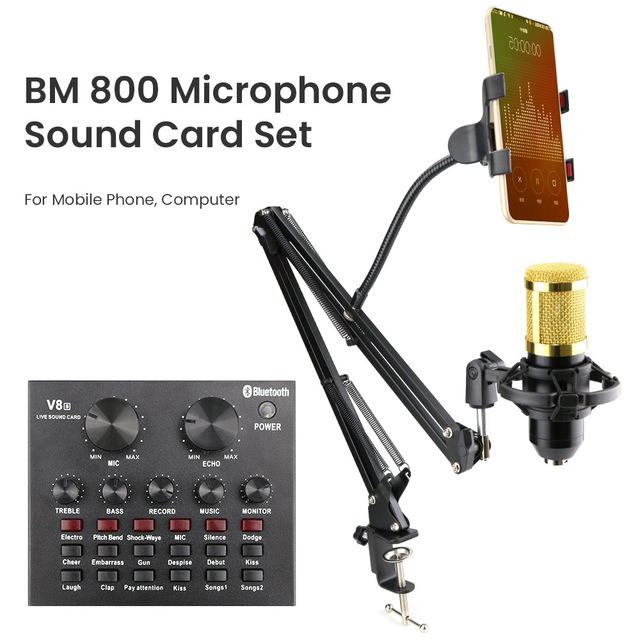 Beruf Studio bm 800 Kondensator Mikrofon Mixer Kit Mic Soundkarte Audio Interface bm800 Mikrofon für PC Computer Telefon