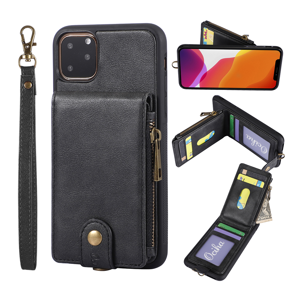 Luxury PU Leather Zipper Stand Phone <font><b>Case</b></font> for iPhone 11 Pro XS Max XR 10 8 7 6 6s Plus 7Plus 8Plus iPhone11 11Pro Wallet Cover image