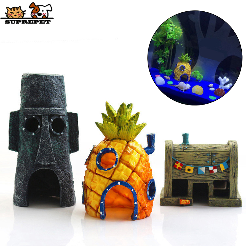 SUPREPET Resin Cartoon Fish Tank Aquarium Decoration Cute Pineapple House Fish Tank Landscape Ornament Fish Tank Accessories