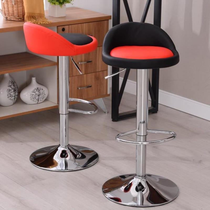 Lifting Bar Chair Leather Seat Simple High Stool Rotating Bar Stool Chair Home Fashion Metal Bar Chair Cash Register Stool