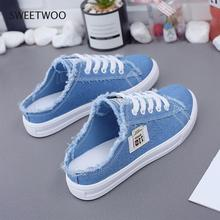 Canvas-Shoes Flat-Sneakers Women Summer Spring White Lace-Up Low-Upper