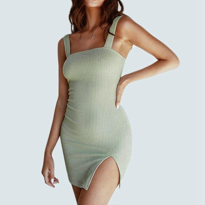 Однотонное тонкое сексуальное платье, женское летнее платье жилет с разрезом, женская модная мини юбка без рукавов, облегающее платье Платья      АлиЭкспресс
