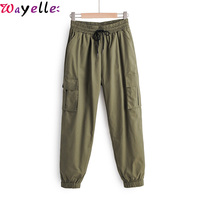 High Waist Pants Women Pocket Patch Casual Binding Feet Straight Pants Women Autumn Ladies Chic Leisure Elastic Waist Trousers