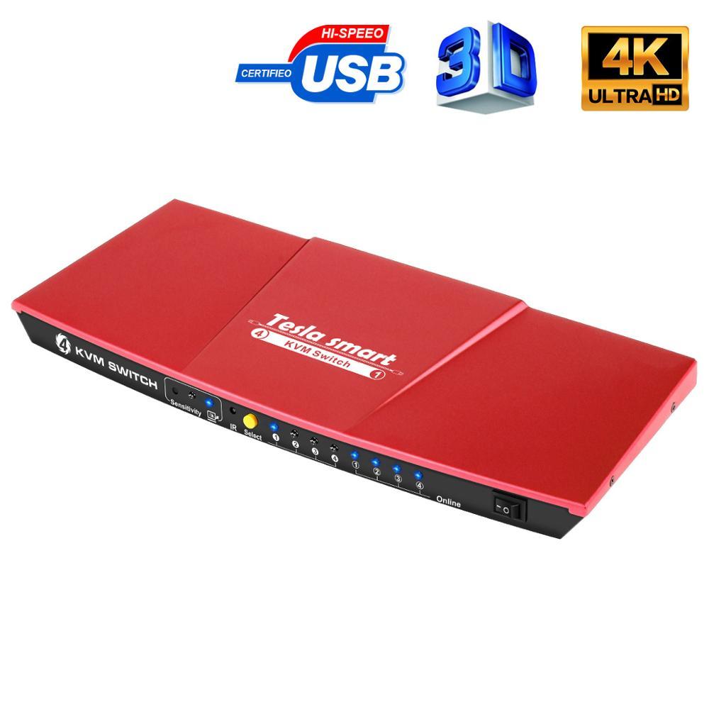 4K KVM Switch  4 Port USB2.0  KVM HDMI Switch 4K60Hz High Quality Tesla Smart USB Support 3840*2160/4K*2K Extra USB2.0 Port
