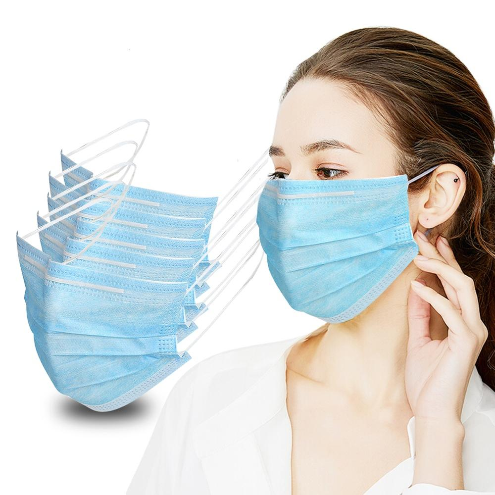 Disposable Face Masks, Morenitor Professional 3-Layer Anti Dust Breathable Earloop Mouth Mask, Comfortable Sanitary Surgical Mask for Dust, Protection and Personal Health (Blue-1Pcs)