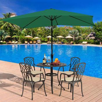 Hand Crank Lift Rectangle Garden Parasol Patio Sun Shade Umbrella