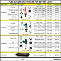 حاقن وقود إصلاح أطقم خدمة أطقم لتويوتا لكزس 4.3 3.0 3.5 V6 GS430 E300 SC430 LS430 مع 100 قطعة/الحقيبة شحن مجاني|fuel injector repair kit|injector repair kitfuel injector -