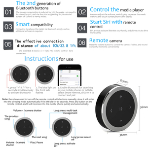 Image 5 - Kebidu سيارة دراجة نارية عجلة القيادة تشغيل الموسيقى التحكم عن بعد سماعة لاسلكية تعمل بالبلوتوث زر وسائل الإعلام للهاتف iOS/أندرويد