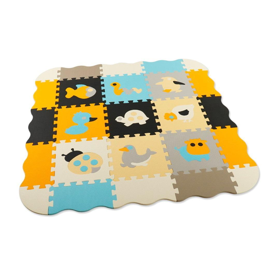 25 PCS Animal Pattern Foam Puzzle Kids Rug Carpet With Fence Split Joint EVA Baby Play Mat Indoor Soft Activity Puzzle Mats