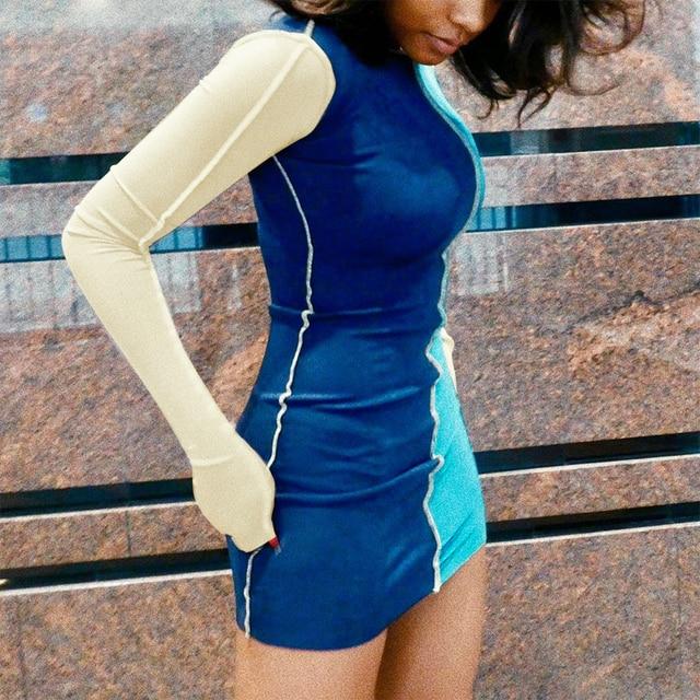 Fashion Patchwork Bodycon Mini Dresses for Women Long Sleeve Skinny Clubwear Contrast Party Dress Vestidos De Mujer 1