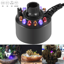 New Ultrasonic Humidifier Rockery Mist Maker Fogger With 12 LED Colorful Water Fountain Pond Fish Tank Creating Atmosphere D35 12 led ultrasonic mist maker fogger water fountain pond