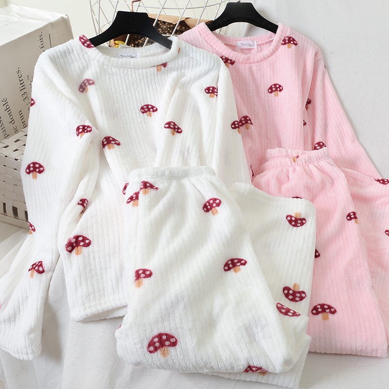 Heliar Mushroom Embroidered Undertwear Thermal Two Pcs Out Fits Women Long Sleeve Blouse Tops And Pants Sets Skirt Women