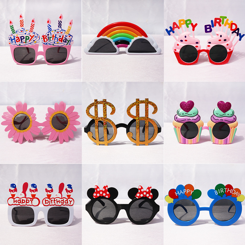1pcs Happy Birthday Glasses Photo Booth Props Plastic Birthday Party Kids Glasses Party Supplies Party Favor Accessories