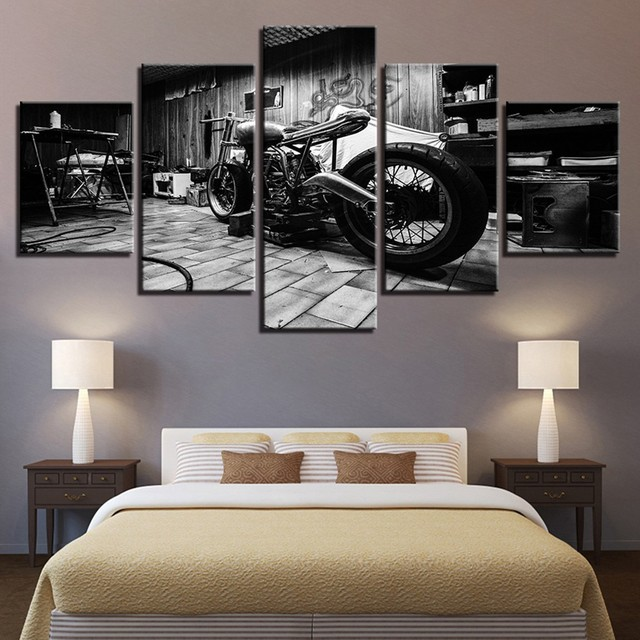 5pc Canvas Print Painting Fashion Retro Motorcycle Pattern Wall Art Canvas Hanging Wall Pictures For Living Room No Framed F1230