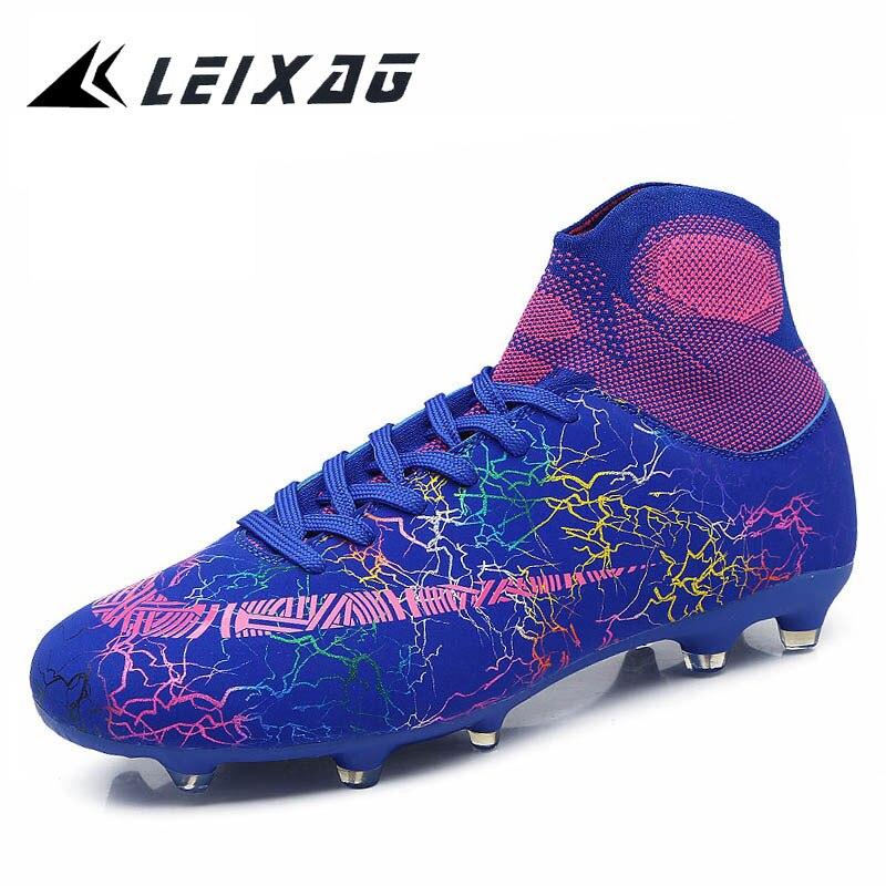 Homens Botas de Futebol TF LEIXAG/FG Alta Tornozelo Anti-slip Sapatos de Futebol Para Crianças e Adultos de Atletismo Pico botas Homens Grama Chuteiras