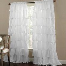 2 pcs European Ruffle Flash Curtain Mesh Curtains Princess Room Curtain Bedroom Curtain Can Be Customized  white living room