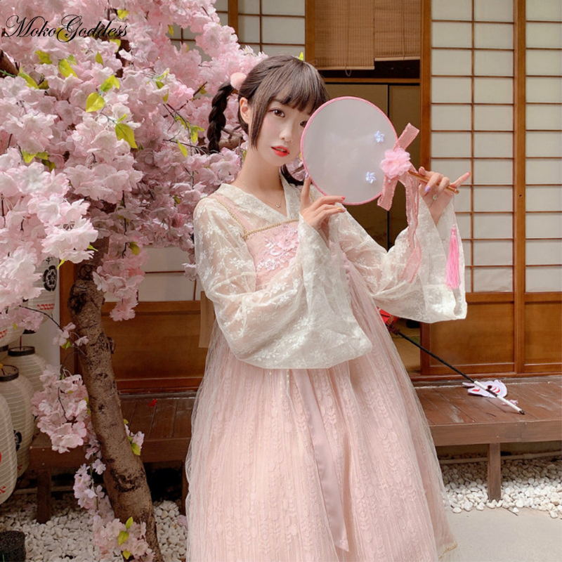 Chinese style Chinese element Lolita dress Womens Cosplay Costumes super fairy Autumn sweet college wind bow dress