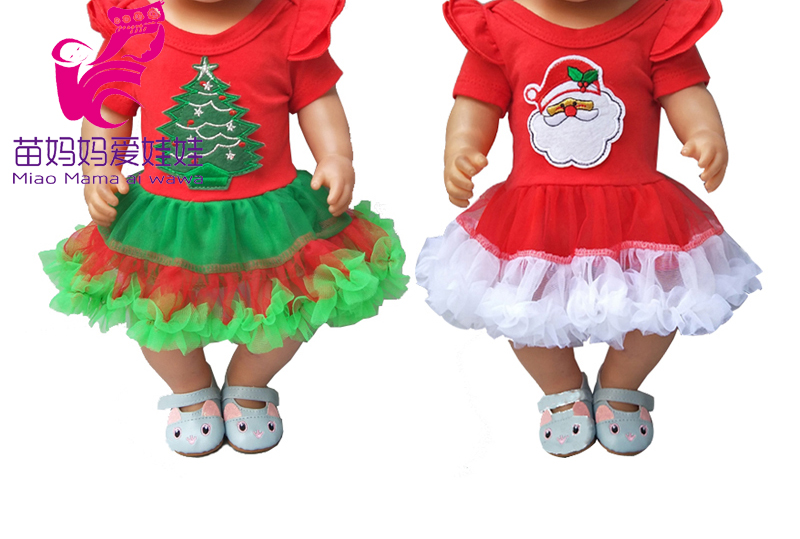 For 43cm  Bebe Born Doll Christmas Dress For 18 Inch Girl Doll Christmas Dress Baby Girl Gifts