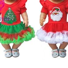 For 43cm bebe born doll Christmas dress for 18 inch girl doll Christmas dress baby girl gif
