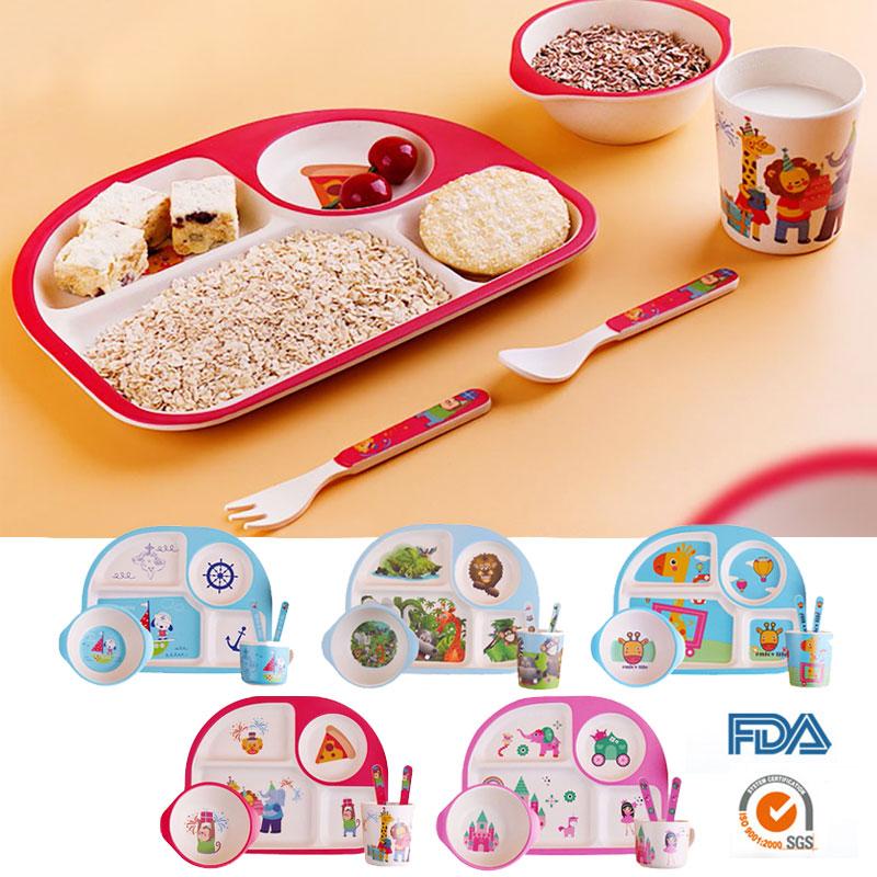 tigela de alimentacao de bambu do bebe bpa livre pratos garfo colher copo 5 pcs louca