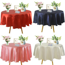 Satin Tablecloth Wedding Christmas-Party-Decor Round Solid Home for Birthday 145cm 57inch
