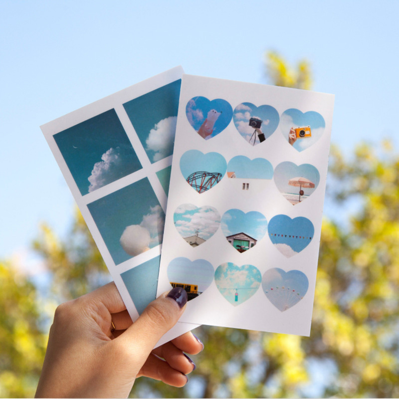 4Sheets Cute Scenery Stickers PET Adhesive Sticker Kawaii Cloud Dot Stickers For Kids Scrapbooking Diary Supplies Stationery