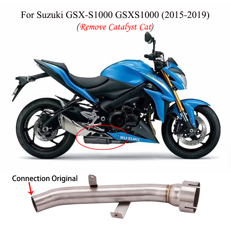 Cut Catalyst Mid Pipe For 2015-2019 <font><b>Suzuki</b></font> <font><b>GSX</b></font>-<font><b>S</b></font> <font><b>1000</b></font> GSXS1000 Motorcycle Exhaust Pipe Slip On Original Muffler Stainless Steel image