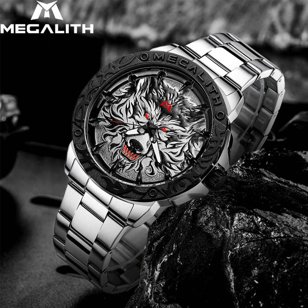 Megalith Nieuwste Wolf Hoofd Reliëf Horloge Mannen Luxe Roestvrijstalen Horloge Waterdicht Lichtgevende Mannelijke Klok Relogio Masculino 2020