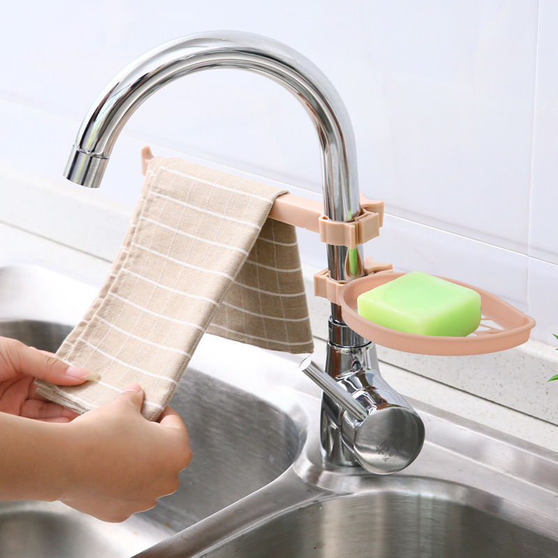 Sink Hanging Storage Rack Storage Holder Sponge Bathroom Kitchen Faucet Clip Dish Cloth Clip Shelf Drain Dry Towel Organizer-in Racks & Holders from Home & Garden