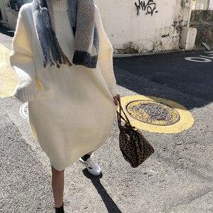 Image 4 - CBAFU robe tricotée pour femmes, mi col roulé, robe pull à manches longues, pulls amples, grande taille, P529, automne hiver