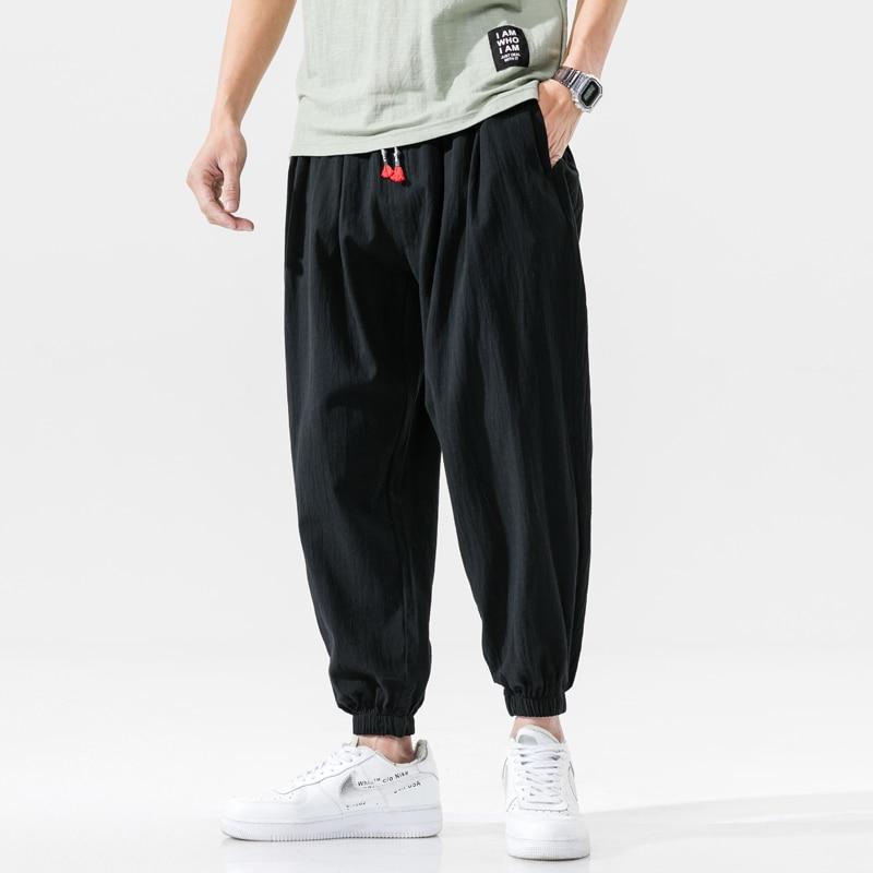 Cotton Casual Harem Pants Men Joggers Man 2020 Summer Trousers Male Chinese Style Baggy Pants Harajuku Clothe Men Dropshipping