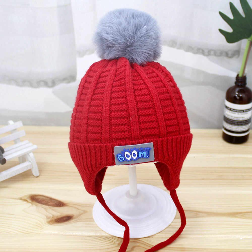 תינוק כובע החורף סרוג כובע קוריאני פרווה כדור תינוק מחממי אוזניים רך יילוד תינוק בני בנות פעוטות כותנה כובעים