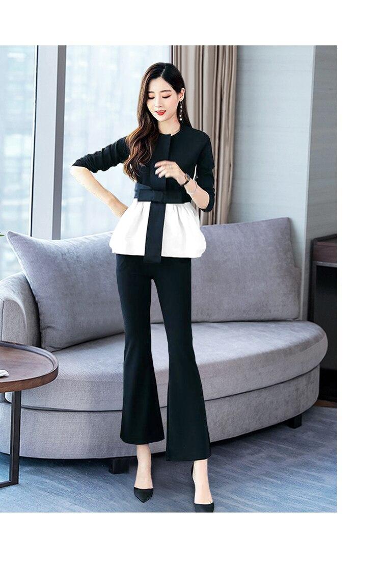 Office Elegant 2 Piece Pants Sets Suits Women Plus Size Color-blocked Bow Tops And Flare Pants Suits Korean Ladies Fashion Sets 24