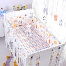 4pcs Crib Bumpers +Flat Bed Sheet Cotton Cartoon Print Children's Cot Protector Infant Baby Bedding Kids Bedding Set Room Decor