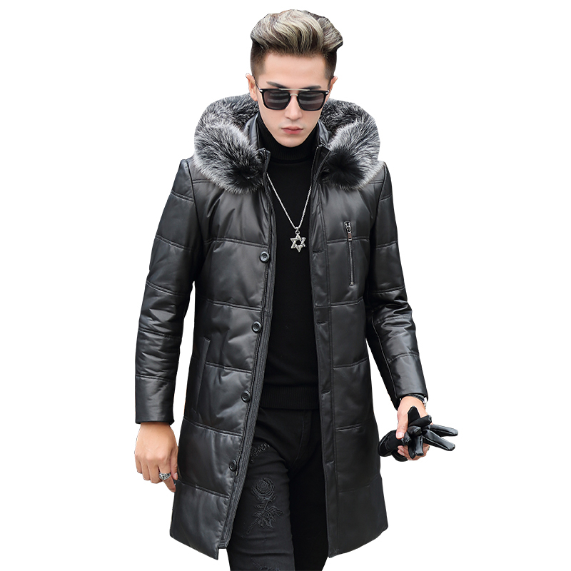 Genuine Leather Jacket Men Winter Hooded Jackets Real Sheepskin Fox Fur Collar Mens Warm Down Coat Jaqueta Couro