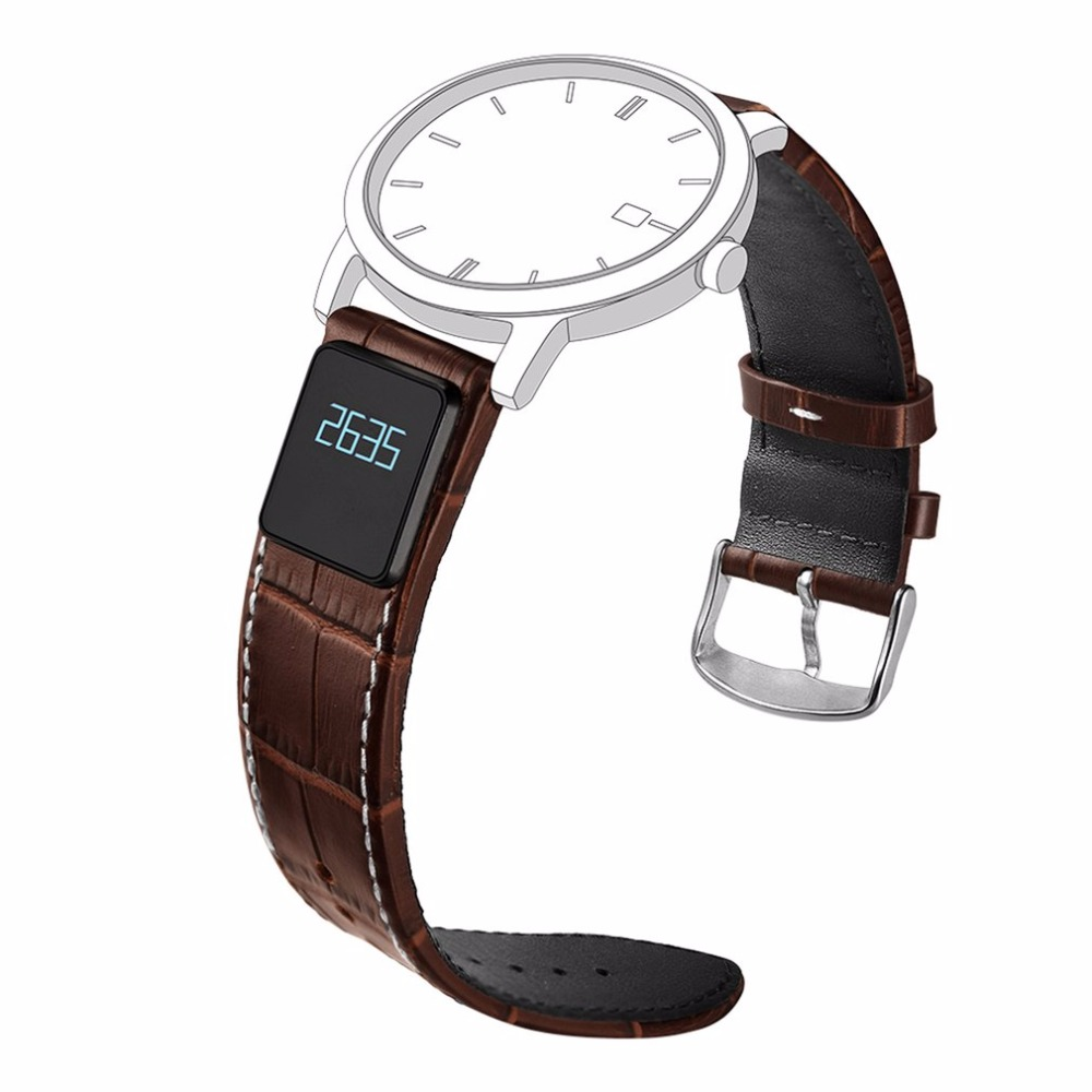H3 Smart Bracelet Leather Strap Sleep Monitoring Pedometer Distance Calorie Measurement Strap Band 20MM 0.42 Inch Display