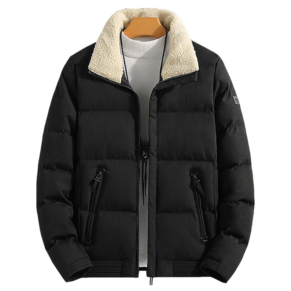Plus-size Brief Paragraph Waterproof Parka Coats Men Coat To Keep Warm To Thicken The Zipper Men's Clothing Of Pure Color Coat