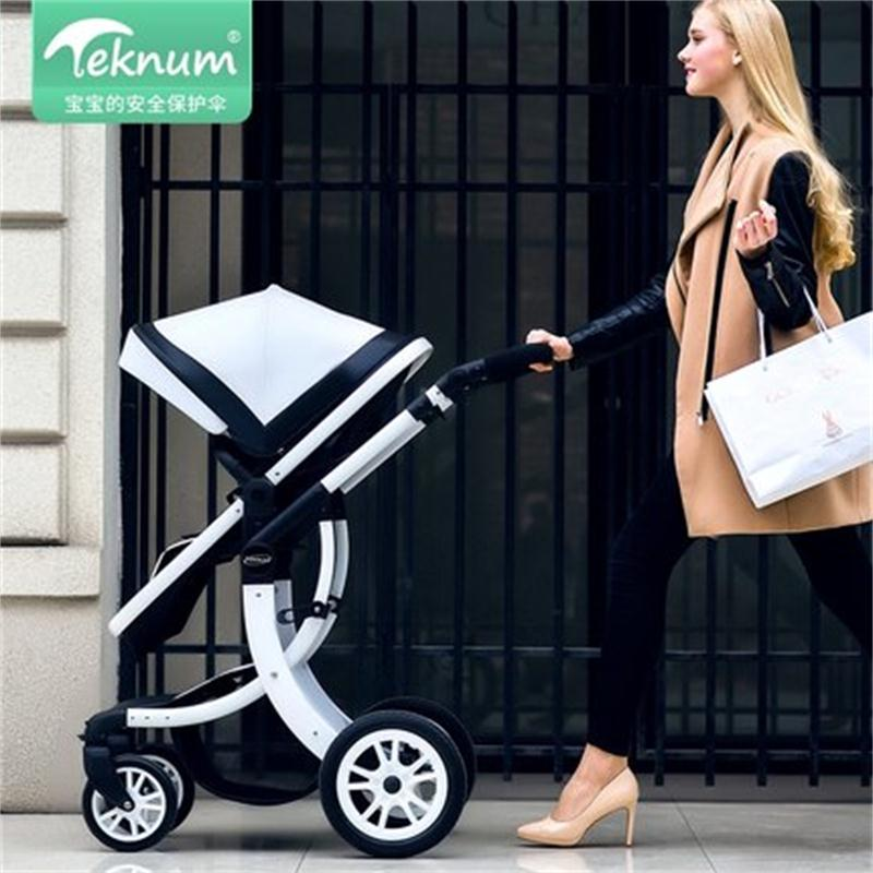 Teknum 2 In 1 Baby Stroller 55cm High Landscape Stroller  PU Leather Hood X Design Newborn Carriage Send Gifts  Free Shipping