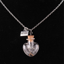 Women Men Simple Clear Silver Chain Necklace Trendy Heart Shaped Glass Bottle Wish Dandelion Seed Drift Bottle Pendant Necklace new trendy natural dandelion seed pendant necklace handmade transparent lucky wish glass ball long chain necklace for women gift