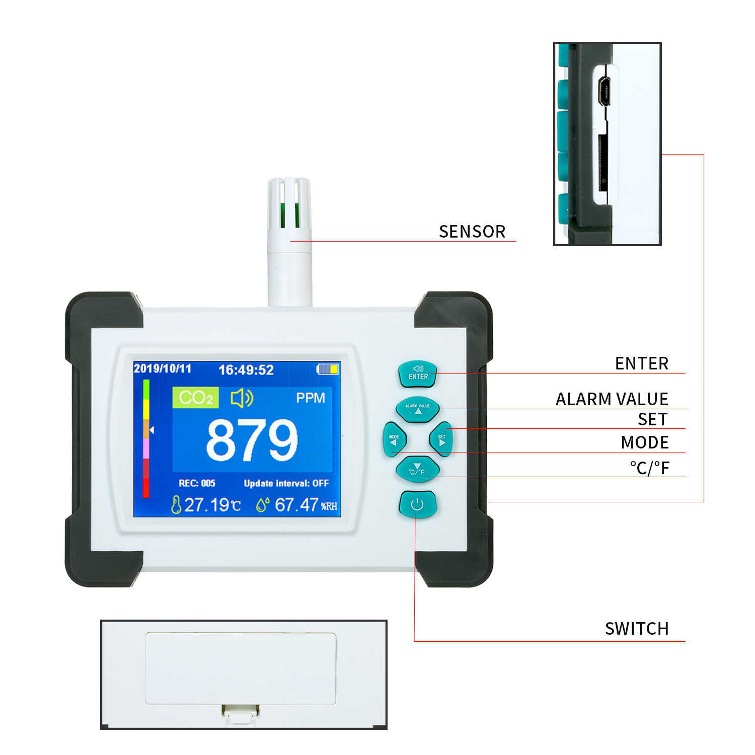 CO2 Meter Tester for Air Quality Detector CO2 Meter Monitor with Storage Case Kecheer Carbon Dioxide Detector with Rechargeable Battery Upgrade Version with Generate and Export PDF File Functio