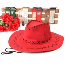 Retro Unisex Denim Salvaje Oeste Cowgirl Rodeo Fancy vestido accesorios sombreros rojo(China)