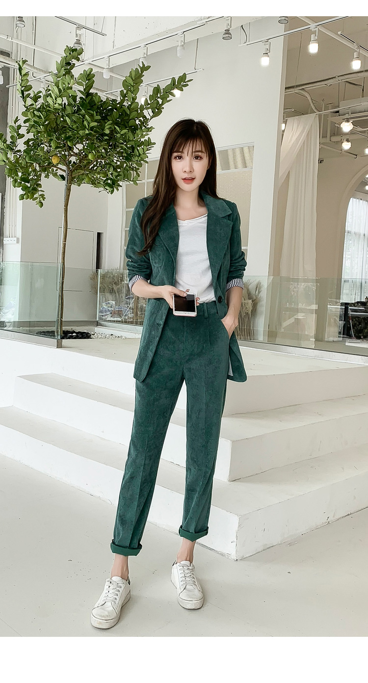 Autumn Winter Blazer Pants Suit Women Korean Chic Fashion Office Ladies Green Corduroy Casual High Waist Small Feet Pants Suit 55