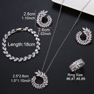 Image 5 - 4 Pcs Leaf Shape Fashion CZ Necklace Earring Bracelet and Ring Sets Brand Zirconia Silver Color Jewelry Sets Women Accessories