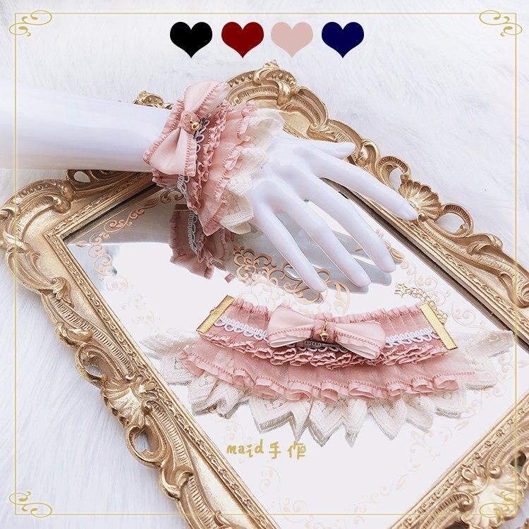 Origional Hand Cuff Bracelets Lolita Lace Gorgeous-Bell Lolita Sweet Harajuku Hand Cuff