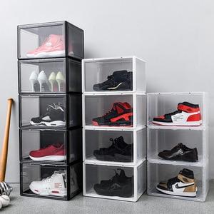 Image 2 - 1Pcs Plastic Drawer Type Shoe Box Transparent Box For Shoes Basketball AJ Shoe Storage Boxes Shoe Storage Organizer