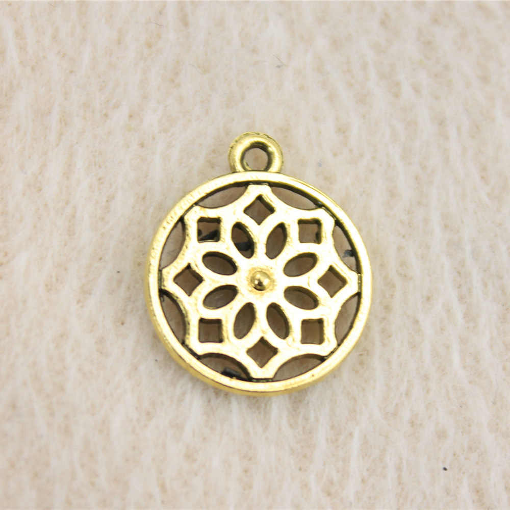 Sales Retail 1 Piece 14mm Round Flower Charms Keychain Jewellery